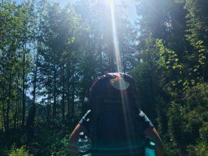 Eine Pilgerin von hinten fotografiert - ein Sonnenstrahl fällt durch das Blattwerk auf ihre Jakobsmuschel am Rucksack.