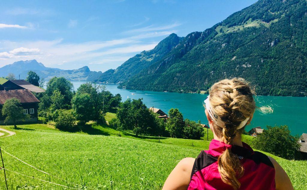 Über einer grünen Wiese und einigen dunkleren Bäumen erstreckt sich ein tiefblauer See, hinter dem wiederum Berge und klarer blauer Himmel zu erkennen sind. Rechts im Vordergrund sieht man Schultern und Hinterkopf einer blonden Frau mit französischem Zopf.