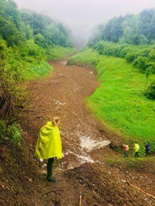 Eine Pilgerin in gelbem Regenponcho blickt die Schneise hinauf, die von der Lawine verursacht wurde.