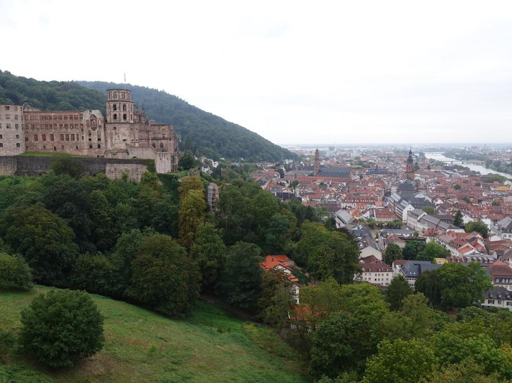 Heidelberger Schlossruine und die darunterliegende Stadt.