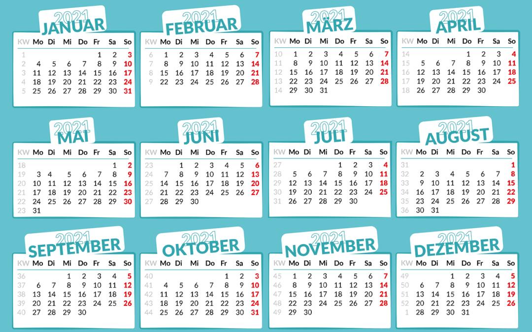 Ein Kalender von 2021 mit allen 12 Monaten.